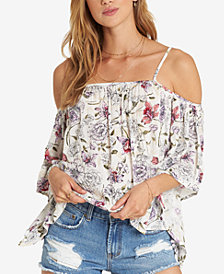 Billabong Juniors' Printed Cold-Shoulder Top