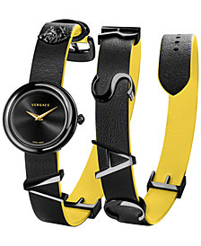 Versace Women's Swiss V-Flare Black & Yellow Leather Wrap Strap Watch 28mm