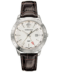 Versace Men's Swiss Business Slim Brown Leather Strap Watch 43mm