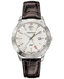 Versace Men's Swiss Business Slim Brown Leather Strap Watch 43mm