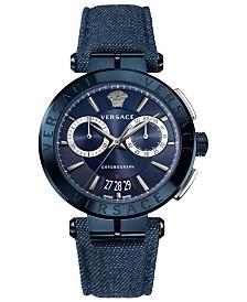 Versace Men's Swiss Chronograph Aion Denim Leather Strap Watch 45mm