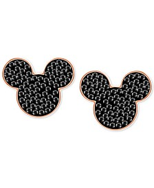 Rose Gold-Tone Crystal Mickey Mouse Stud Earrings