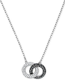 "Swarovski Two-Tone Crystal Linked Circle 17-3/4"" Pendant Necklace"