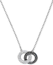 "Swarovski Two-Tone Crystal Linked Circle 17-3/4"" Pendant Necklace"