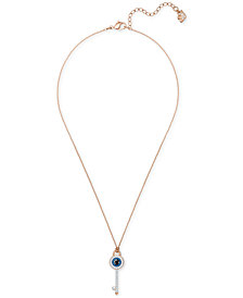 "Swarovski Rose Gold-Tone Crystal Evil Eye & Key 14-3/4"" Pendant Necklace"
