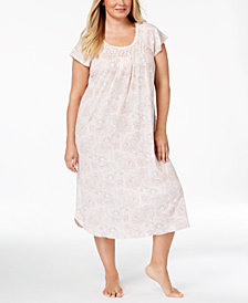 Miss Elaine Plus Size Smocked Printed Knit Nightgown