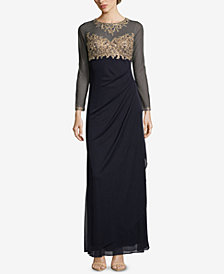 XSCAPE Embellished Ruched Gown
