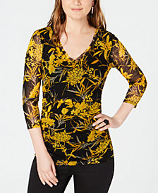 I.N.C. Floral-Print V-Neck Top, Created for Macy's
