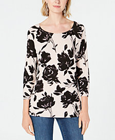 I.N.C. Floral-Print 3/4-Sleeve Top, Created for Macy's