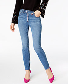 I.N.C. Exposed-Zipper Super Stretch Skinny Jeans, Created for Macy's
