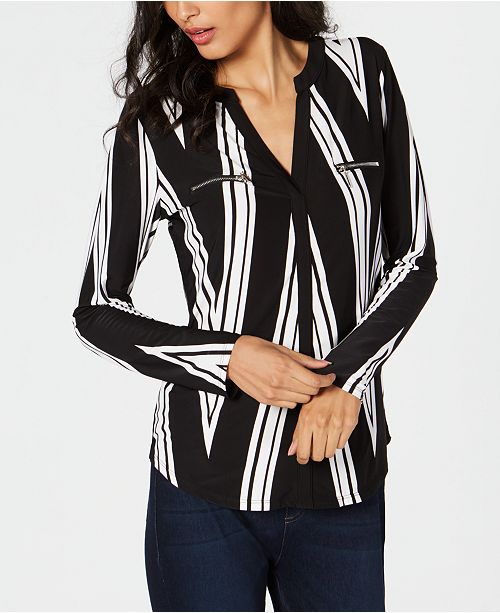 f6b94b37bb7a9f INC International Concepts I.N.C. Petite Long-Sleeve Zip Pocket Shirt ...