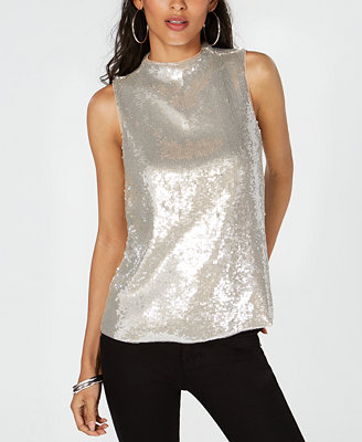 I.N.C. Sequin Mock Neck Sleeveless Top, Created For Macy's by Inc International Concepts