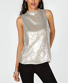 I.N.C. Sequin Mock-Neck Sleeveless Top, Created for Macy's