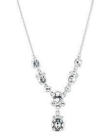 "Givenchy Silver-Tone Crystal Lariat Necklace, 16"" + 3"" extender"