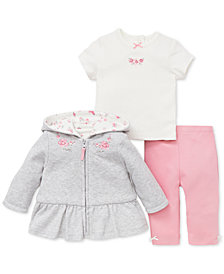 Little Me Baby Girls 3-Pc. Hooded Jacket, Top & Leggings Set