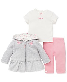 Little Me Baby Girls 3-Pc. Hooded Jacket, Top & Leggings Set