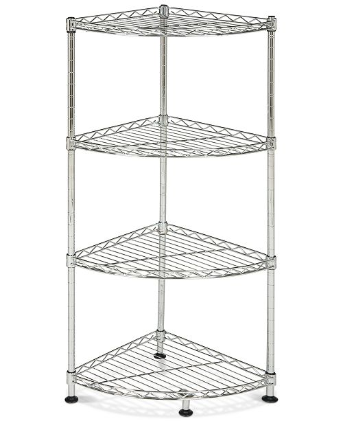 Furniture Damaris 4-Tier Chrome Wire Corner Rack, Quick Ship
