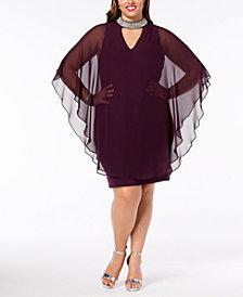 Xscape Plus Size Embellished Chiffon-Overlay Dress