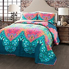 Boho Chic Reversible 3-Piece King Quilt Set