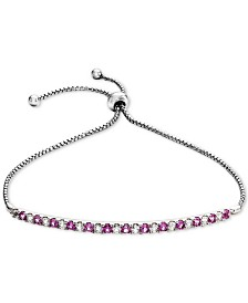 Lab-Created Pink Sapphire (5/8 ct. t.w.) & White Sapphire (5/8 ct. t.w.) Bolo Bracelet in Sterling Silver