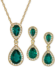 2-Pc. Set Lab-Created Emerald (3 ct. t.w.) & White Sapphire (5/8 ct. t.w.) Pendant Necklace & Matching Drop Earrings in 14k Gold-Plated Sterling Silver