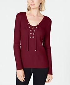 I.N.C. Ribbed Rhinestone Grommet Sweater, Created for Macy's