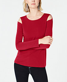 I.N.C. Petite Cutout Crew-Neck Top, Created for Macy's