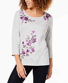 Karen Scott Petite Cotton Studded Floral-Embroidered Top, Created for Macy's