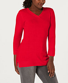 Karen Scott Luxsoft V-Neck Sweater, Created for Macy's
