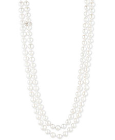 "Carolee Silver-Tone Imitation & Freshwater Pearl (10mm) Knotted 64"" Strand Necklace"
