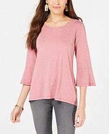 Style & Co Cotton Bell-Sleeve Bustle-Back Top, Created for Macy's