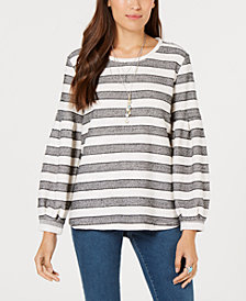 Style & Co Striped Puff-Sleeve Top, Created for Macy's