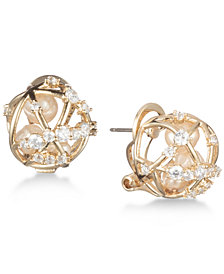 Carolee Gold-Tone Crystal & Imitation Pearl Caged Button Earrings