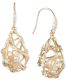 Carolee Gold-Tone Crystal & Imitation Pearl Caged Drop Earrings