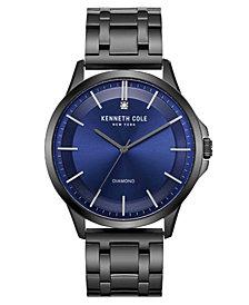 Kenneth Cole New York Men's Diamond-Accent Gunmetal Stainless Steel Bracelet Watch 44mm