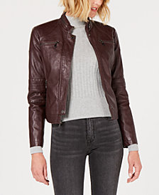 Maralyn & Me Juniors' Faux-Leather Moto Jacket