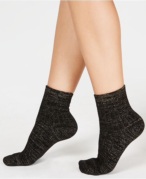INC International Concepts I.N.C. Cozy Ribbed Shimmer Fashion Socks, Created for Macy's