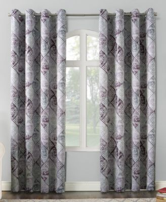 """Lawson 54"""" x 95"""" Distressed Global Tile-Print Lined Grommet Curtain Panel"""