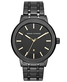 Men's Maddox Genuine Diamond-Accent Black Stainless Steel Bracelet Watch 46mm
