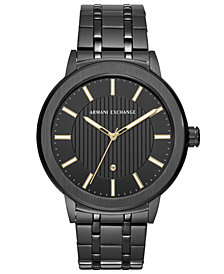 A|X Armani Exchange Men's Maddox Diamond-Accent Black Stainless Steel Bracelet Watch 46mm