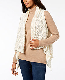 I.N.C. Draped Popcorn-Knit Vest, Created for Macy's