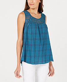 Style & Co Lace-Trim Printed Sleeveless Top, Created for Macy's