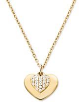 02bf93a25f37a Michael Kors Women s Kors Love Pavé Heart Sterling Silver Necklace