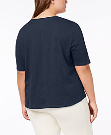 Eileen Fisher Plus Size Organic Cotton Crew-Neck Top