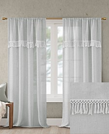 "Brynn 50"" x 84"" Faux Linen Rod Pocket Window Curtain With Attached Tassel Trim Valance"