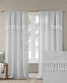 "Madison Park Brynn 50"" x 84"" Faux Linen Rod Pocket Window Curtain With Attached Tassel Trim Valance"