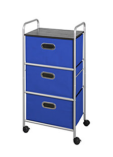 3-Drawer Storage Cart with MDF Top, Blue Bins