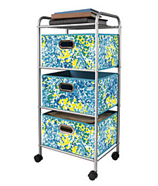 3-Drawer Storage Cart with Green Bins