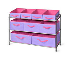 Deluxe Storage Rack with Purple Bins