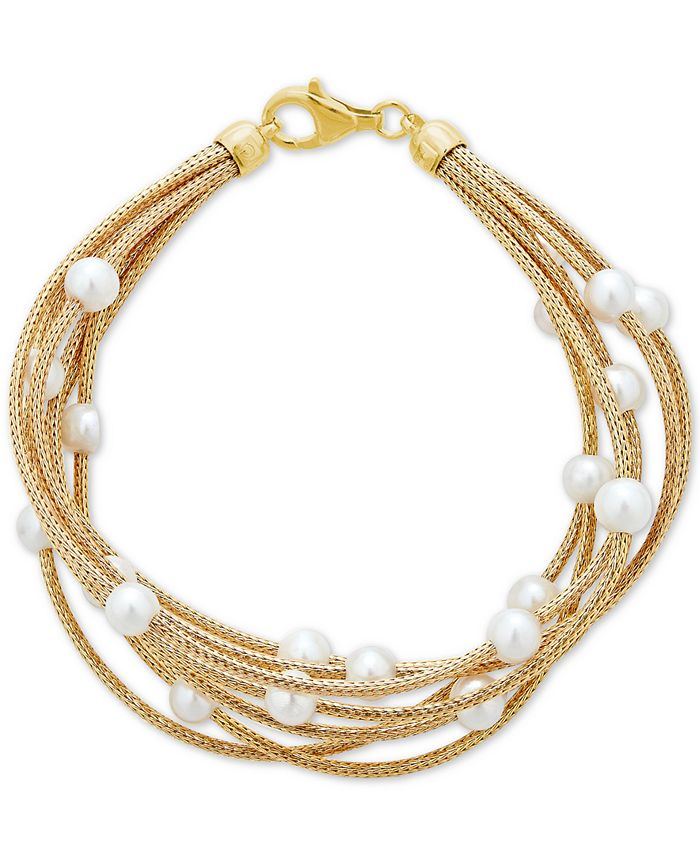 Macy's - Cultured Freshwater Pearl (5-1/2mm) Multi-Row Bracelet in 14k Gold-Plated Sterling Silver